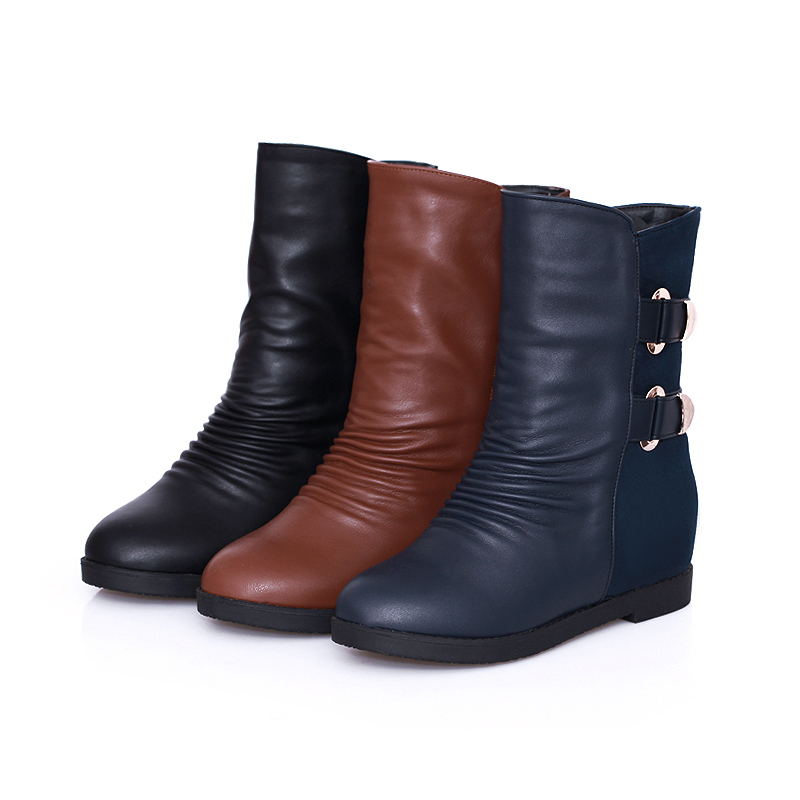 Big size 34-40 high quality hot sale 2015 new fashion winter mixed colors slip-on  3 colors heel inside riding boots