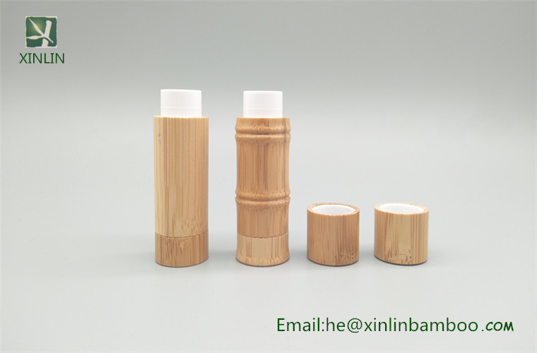 Very Bamboo Lipstick Container Makeup Packaging Round Wooden Lip Balm  UM97