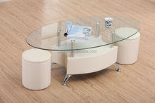 Oval glass top design leather coffee table set with 2 stools