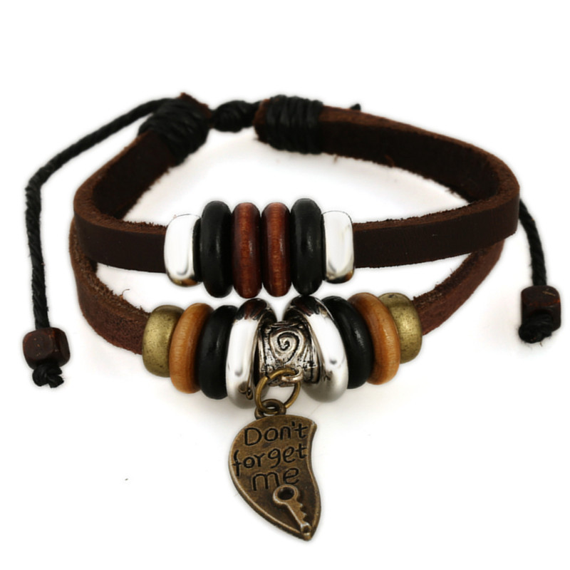 SH-5 Trendy ''Don't forget me'' Pendant Leather Bracelets Fashion Leather Bracelets Summer Gifts For Friends Hot Selling Models
