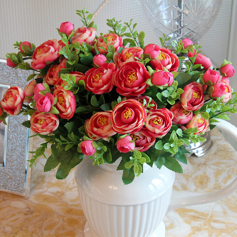 4pcs/lot New Spring Peony Tea Rose Bouquets Artificial Flower Camelias Home Decoration Flowers Dining Table Flowers