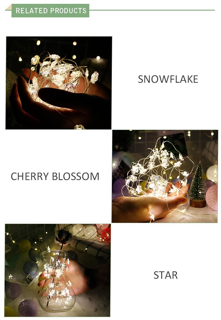 Guirnalda de luces led de alambre de cobre para decoración navideña