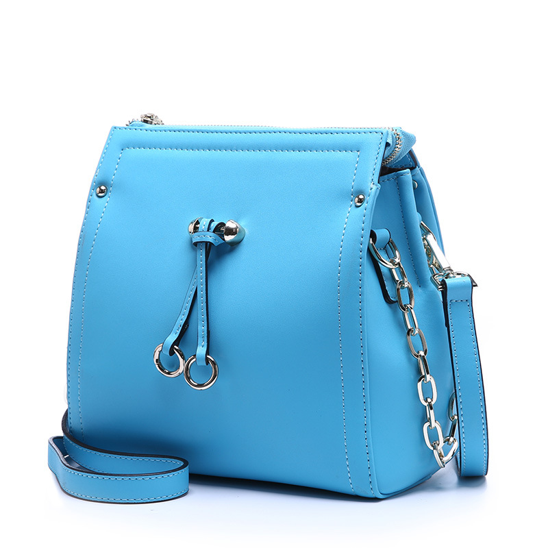 2015 New Arrival Bucket Women Solid Zipper Nylon Genuine Leather Single Preppy Style Messenger Bags