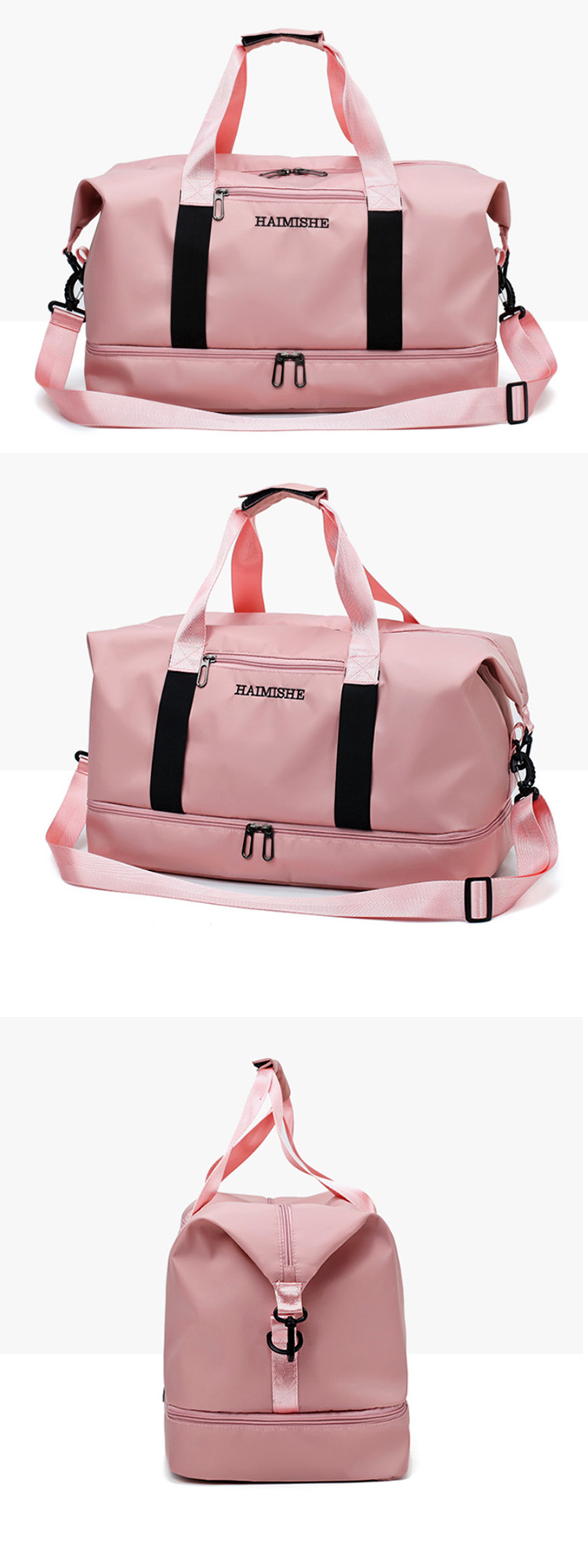 Osgoodway Large Capacity Custom Sports Duffle Bag Pink Women Gym Bag with Shoe Compartment