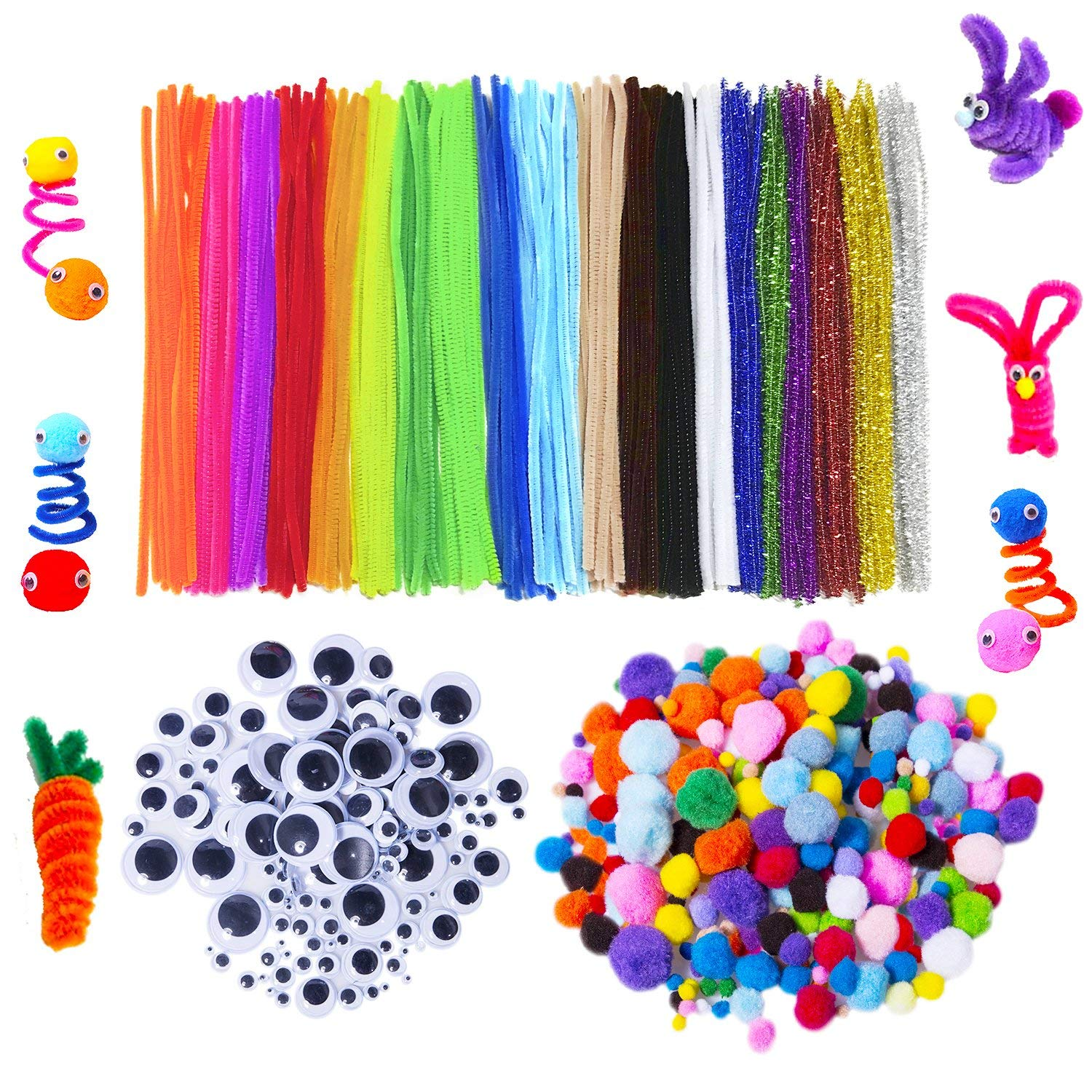 Assorted Pompoms for DIY Crafts and Decorations Pengxiaomei 200 Pcs 6 Sizes Pom Poms