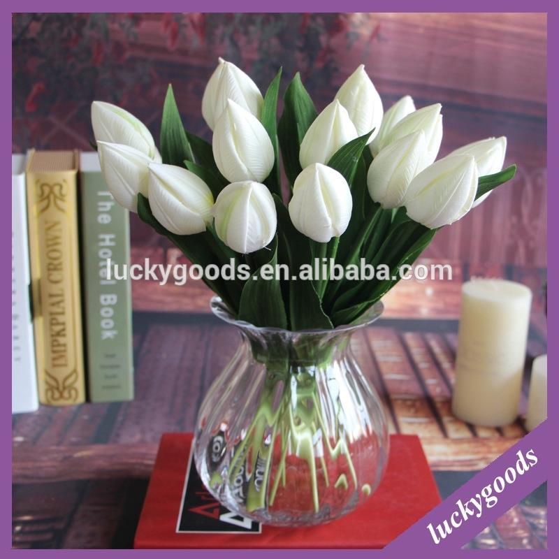 Single stem kunstmatige mini tulp voor indoor tafel decoratie
