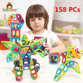 158PCS Regular Enlighten Bricks Educational Magnetic Designer Toy Square Triangle DIY Building Blocks Bricks Toys for