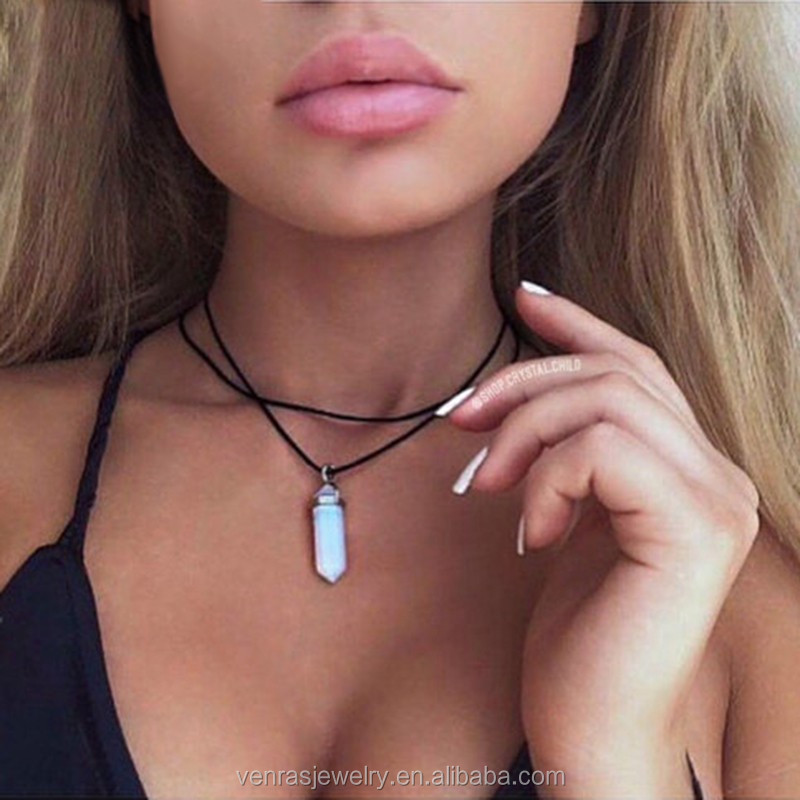 Double Layer Velvet Choker Necklace Crystal Gem Quartz Stone Pendant Leather Chokers Jewelry