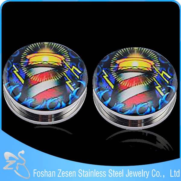 Classical style stainless steel body piercing gauges ear tunnel plug with tower and bright light epoxy picture