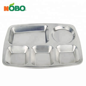 School Use Rectangle Stainless Steel 5 Compartment Divided Dinner Plate