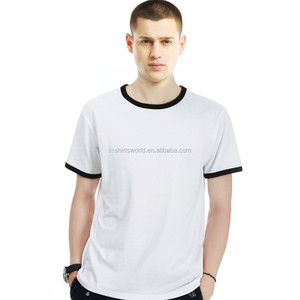 Mens fahion branded stocklot garments in short sleeve contrast piping cotton T-shirt for wholesale