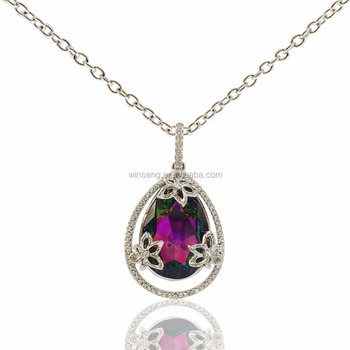 Flowers necklace with pear shaped pendant with crystals buy flowers necklace with pear shaped pendant with crystals aloadofball Images