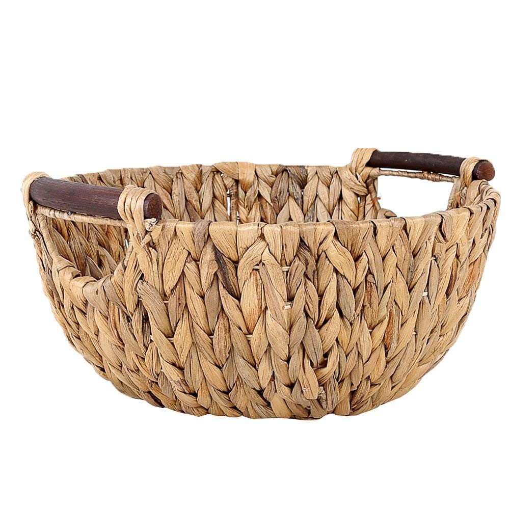 Blueyouth Round Woven Bread Roll Baskets,Hand Woven Rattan Grass Food Serving Baskets Home Storage Basket for Snacks Toys Vegetable Fruit