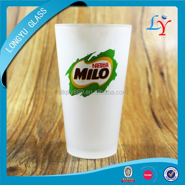 Sedex audit factory 16oz Nescafe glass cappuccino cup wholesale custom nestle milo with frosted