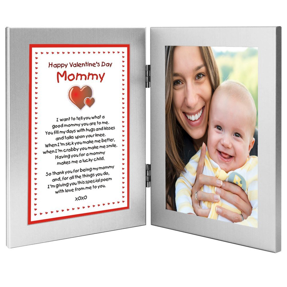 Mommy Sweet Valentine's Day Gift From Son or Daughter - Valentine Poem on Left Side of Double Frame - Add Child's Photo