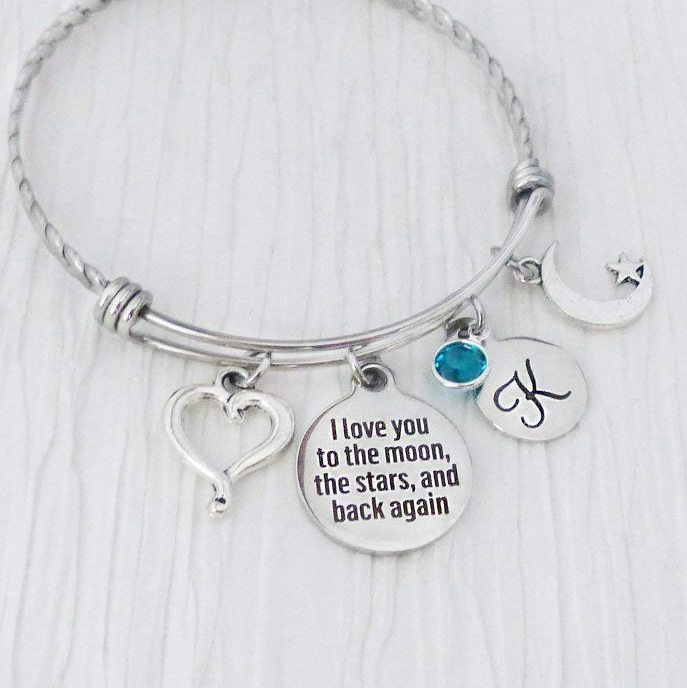 371f921f5 Get Quotations · I love you to the moon and back Bracelet, Expandable Bangle  Bracelet, Heart Charm