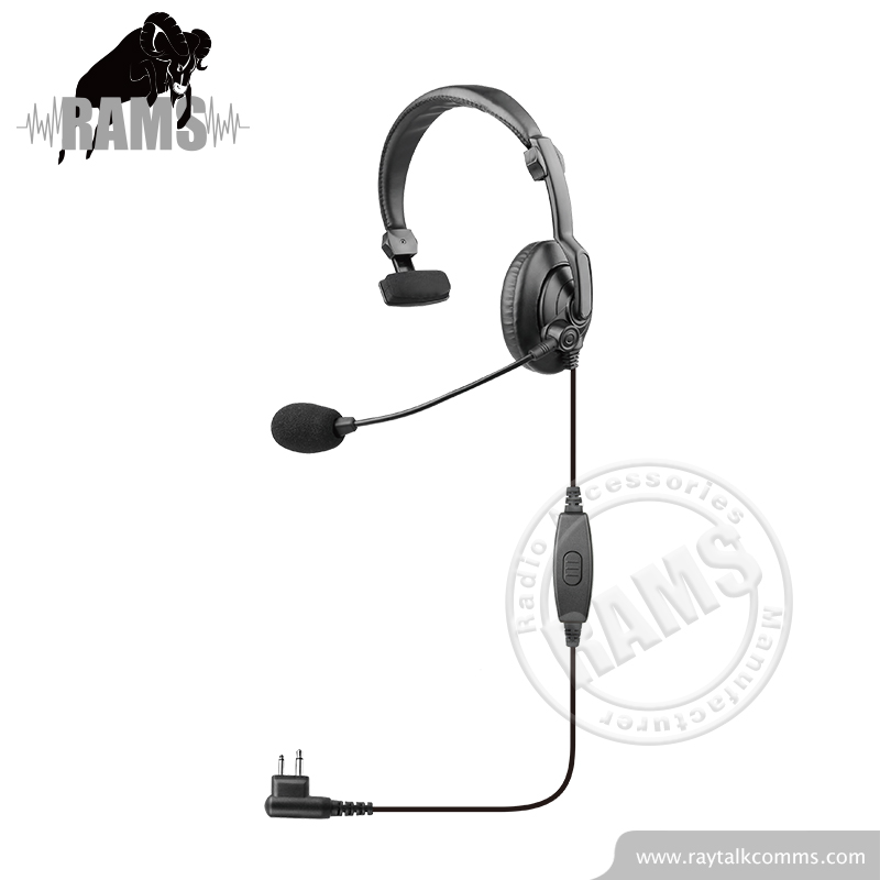 Single ear muff two way radio headset with inline PTT for Motorola 2pin