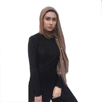 Wholesale fashion solid scarf women 100% cotton crinkle hijab