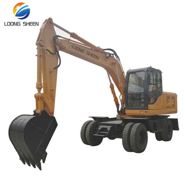 LX120-9A 0.55m3 mini wheel excavator with cheap wheel excavaor price