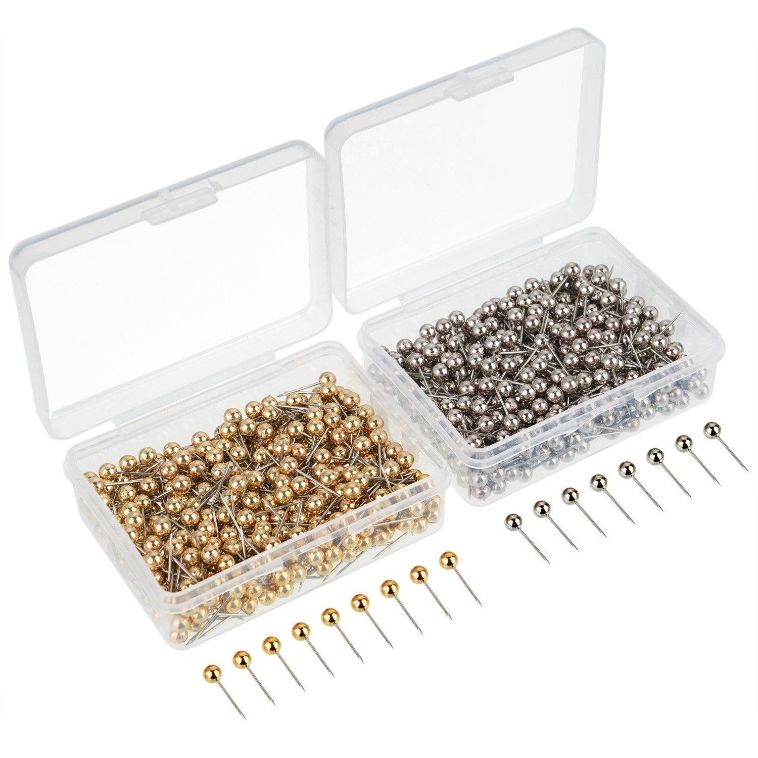 TOOGOO 800 Pieces Map Tacks Push Pins Round Plastic Head with Stainless Steel Point, 0.16 Inch Head, Gold and Silver