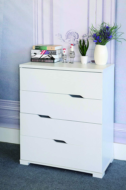 Smart home K16013-4 Eltra K Series Diagonal Open Handles 4 Drawers Chest Dresser (4 Drawers, White)