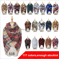 Yiwu factory 117colors women winter Oversized square checked plaid tartan blanket scarf