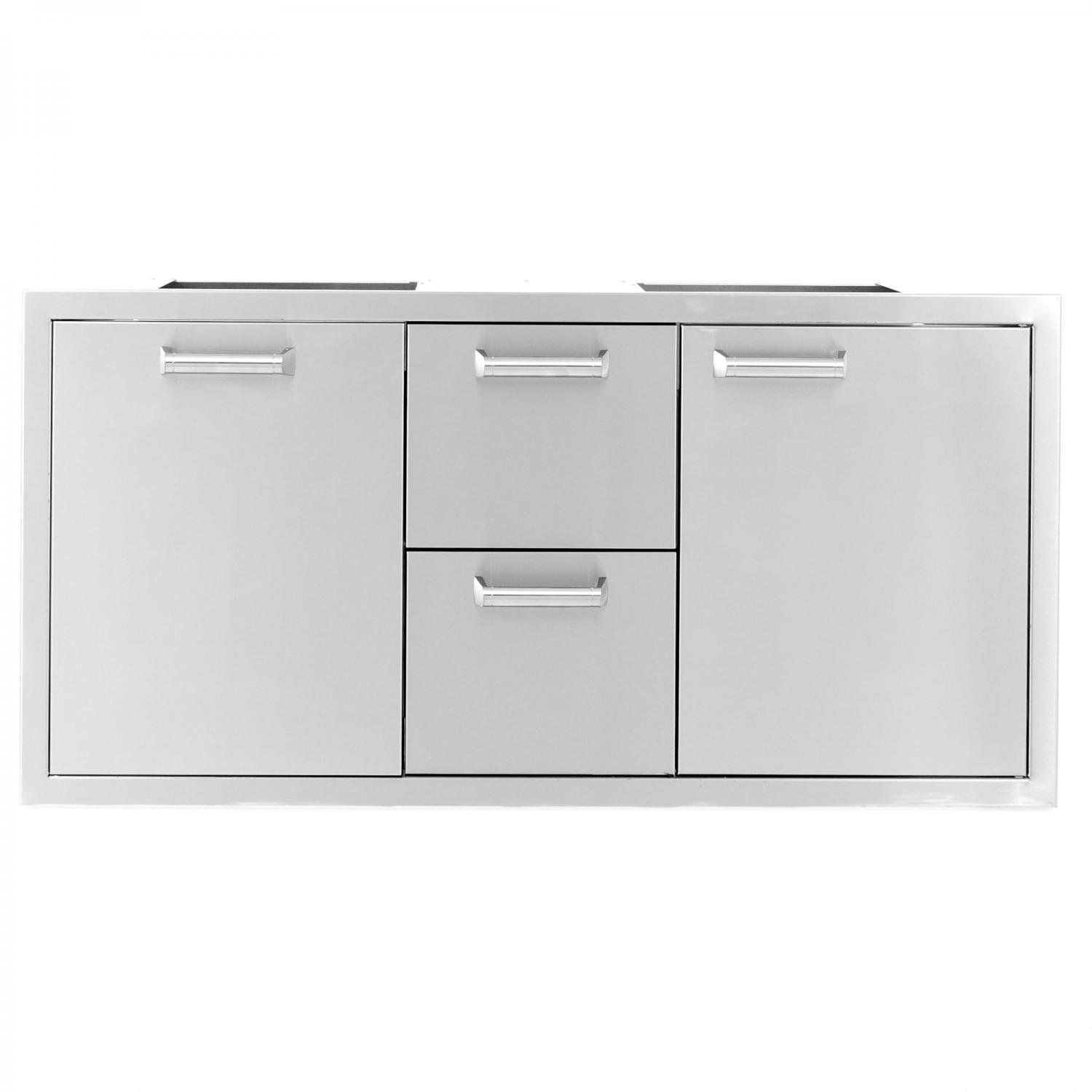 BBQGuys.com Sonoma Series 42-inch Stainless Steel Door, Double Drawer & Roll-Out Trash Bin Combo