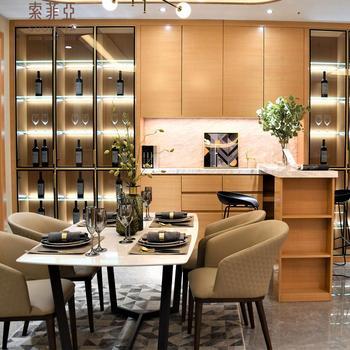 Suofeiya Modern Simple Veneer Wooden Dining Room Wine Bar Display Cabinet With Gl Door Wood Whisky