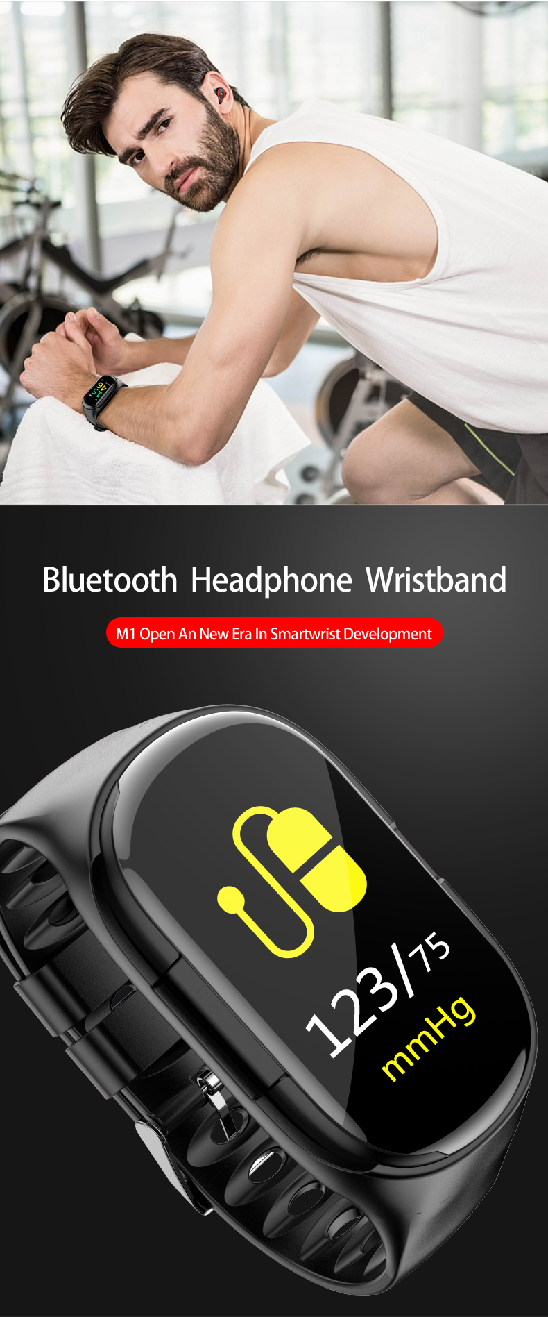 Newest M1 Smart Bracelet Bluetooth Earphone Blood Pressure Monitor Health Smart Watch