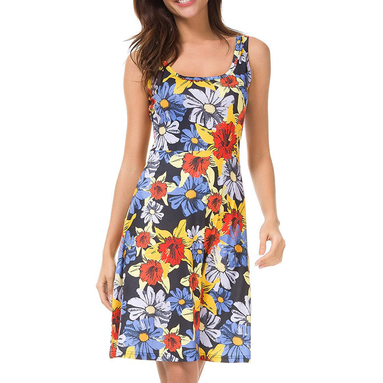 Guangzhou Wholesale One-Piece Women Summer Casual Clothes Print Dresses Women