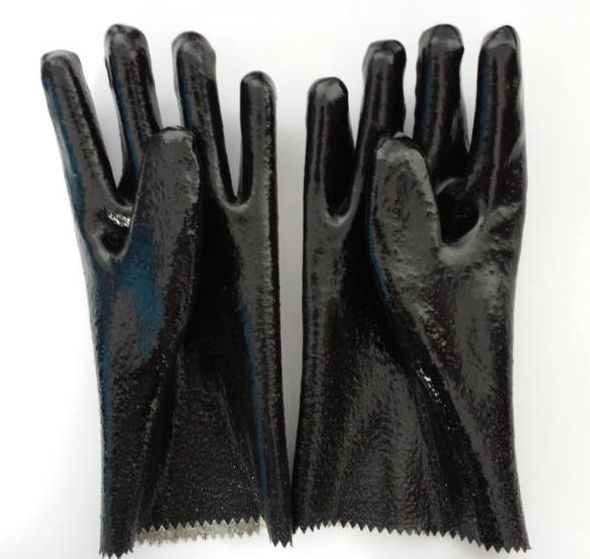 Black industrial rubber working gloves