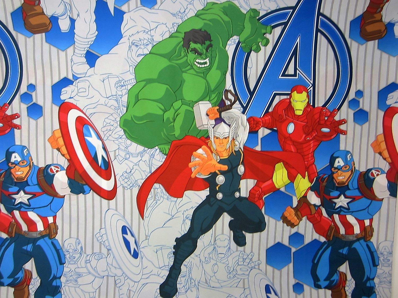 Avengers Blue Circle (FLAT SHEET ONLY) Size TWIN Boys Girls Kids Bedding