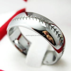 8MM Silver Tungsten Carbide Ring, Baseball Stitch Pattern Baseball Wedding Ring For Men