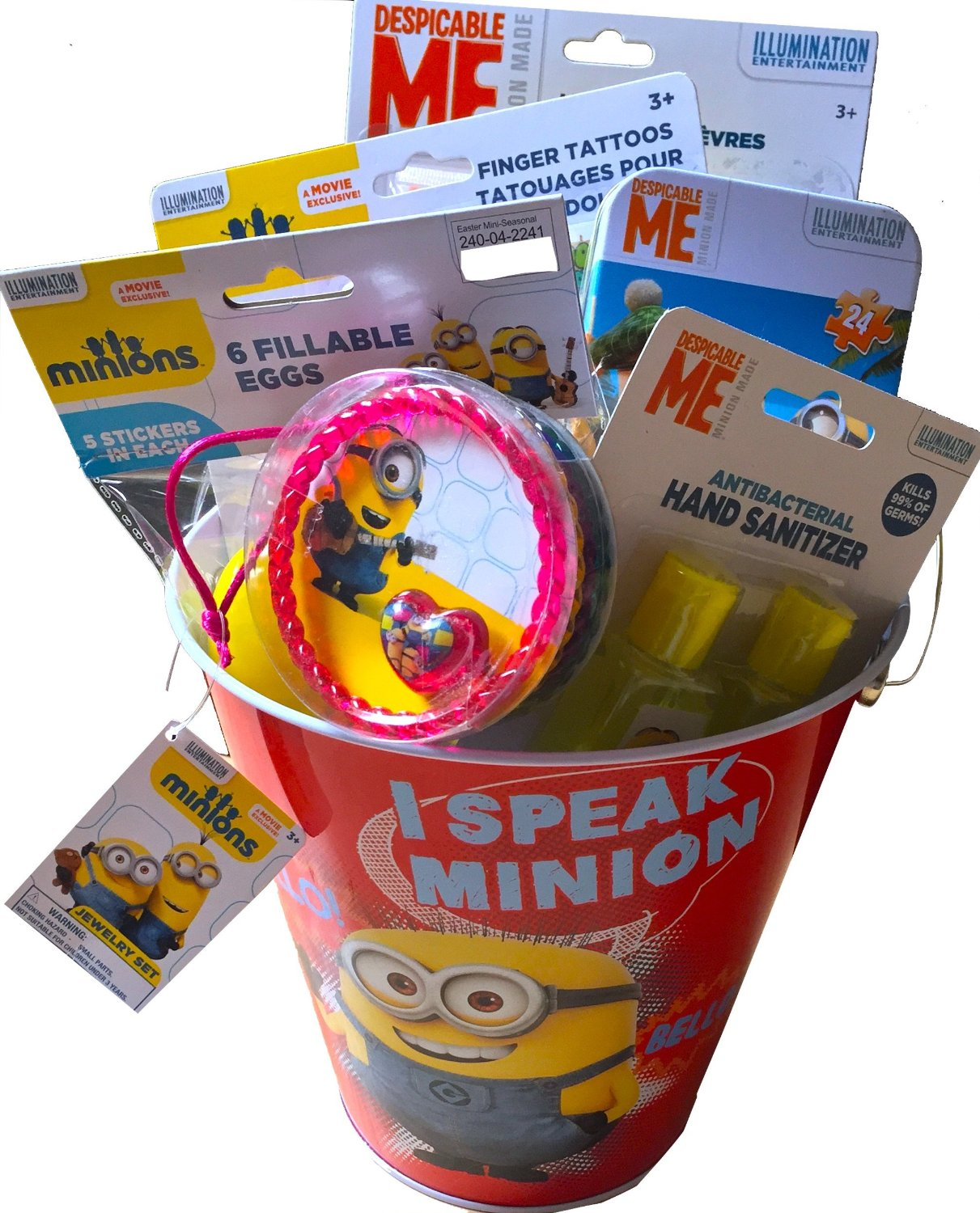 Minions 1 Tin Easter Pail With Bundle Assorted Mystery Gifts, 6 Minion Gifts