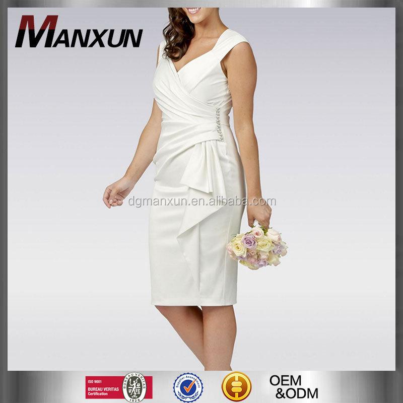 White Mid Length Wedding Dress Satin Wrap Knee Length Casual Wedding