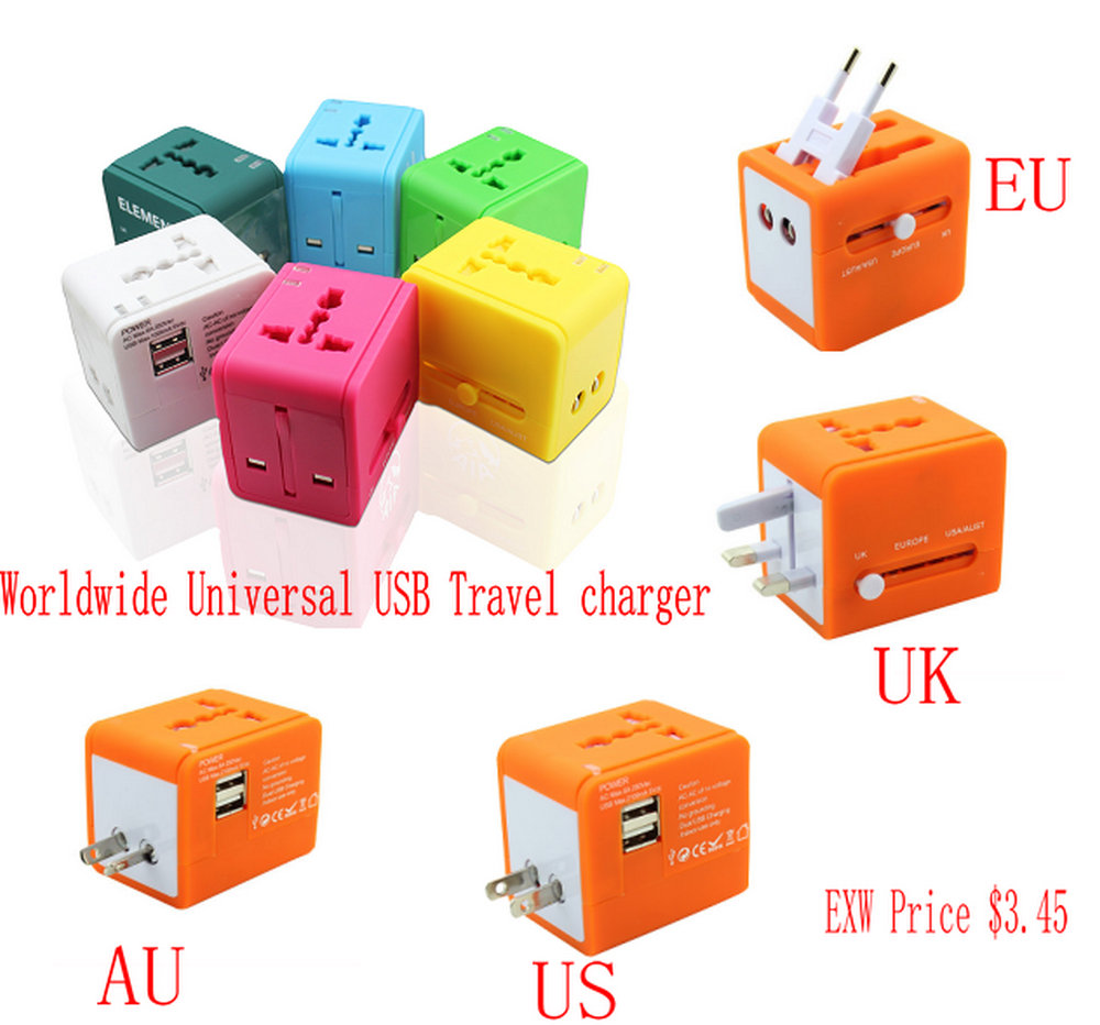 Worldwide Universal USB Mobile Phone Travel charger Multi Function USB Wall Adapter for Travelling