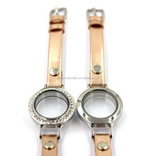Round crystal jewelry glass living memory lockets watch leather bracelet