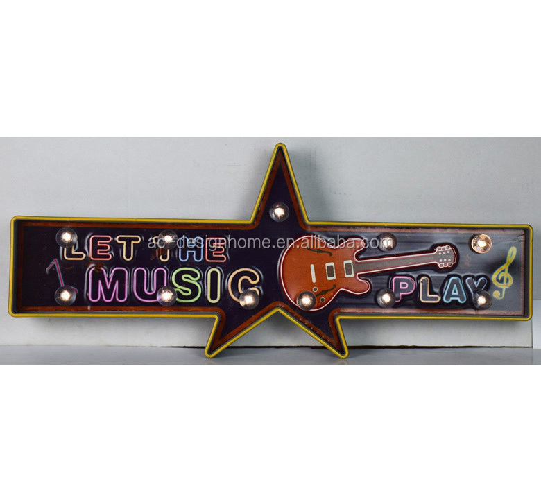 "METAL/PLASTIC LED WALL DECOR ""LET THE MUSIC PLAY"" DESIGN"