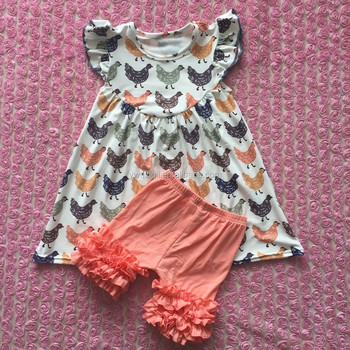 e894a72ab New Fashion Baby Girl Clothing Sets Baby Chicken Print Pearl Dress ...