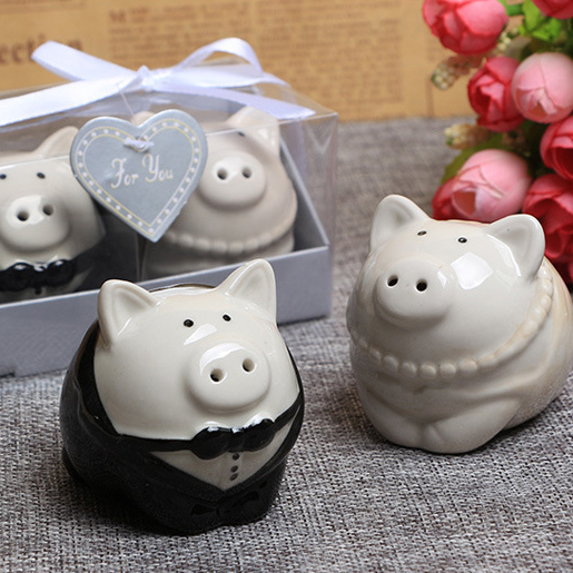 new wedding favor and gifts ceramic pig salt and pepper shaker party souvenirs
