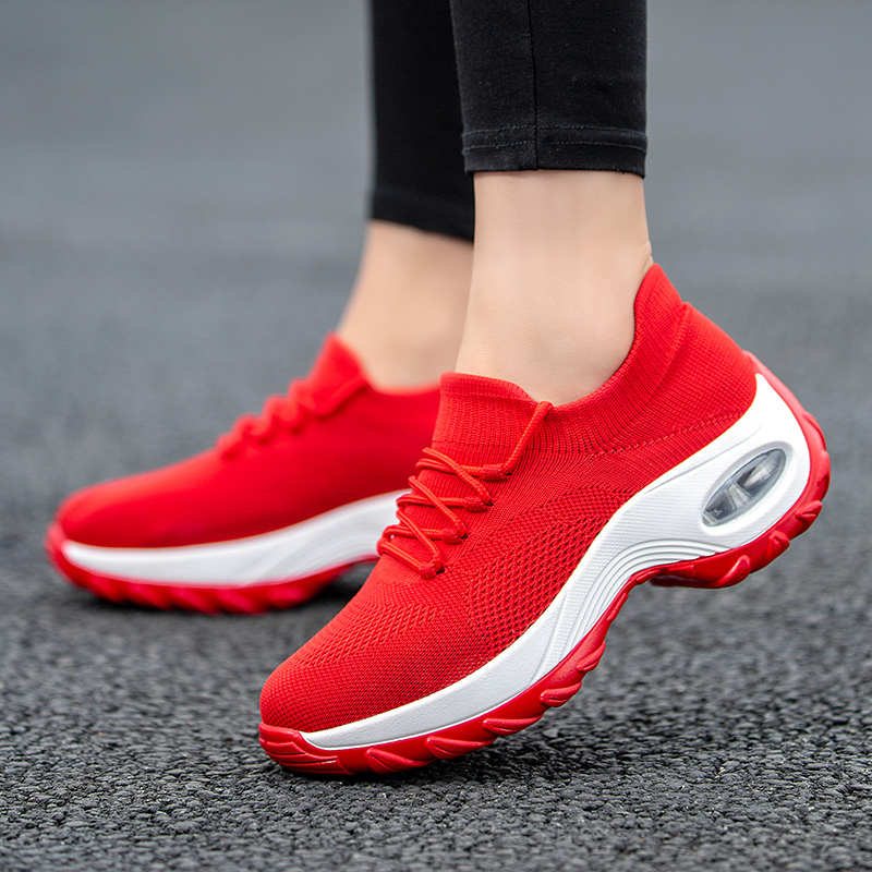 Tennis Shoes For Women Flying Woven Breathable Sneakers Woman Sports Wedges Comfortable Platform Sneakers Women Zapatos De Mujer