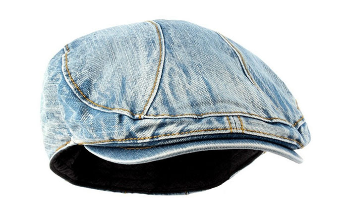New Mens Denim Flat Cap Cabbie Driving Hat Ivy Irish Newsboy Medium Denim d51421d3d05