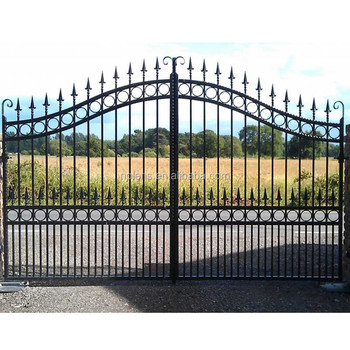 Wrought Iron Gatemodern Iron Gate Designsblack Powder Coated Cheap