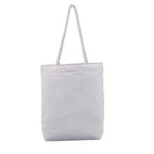 Custom plain cotton canvas tote shopping bag with strong rope