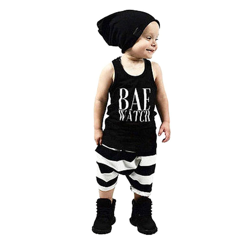 b8c23b388 Get Quotations · Vicbovo 2018 Fashion Toddler Kids Baby Boy Summer Outftis Sleeveless  Tank Tops Shirts + Striped Shorts
