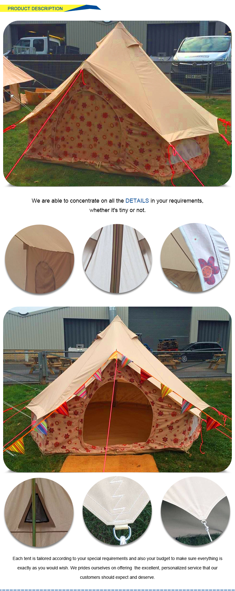 Quality guarantee glamping customized waterproof canvas bell fabric for tent luxury