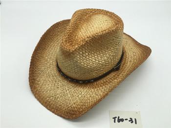 dd1468d05d399 T60-15Wholesale New Style Summer bulk straw cowboy hats Raffie For Mens