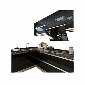 Hottest high quality simple design high gloss plastic kitchen cabinet black acrylic kitchen cabinet