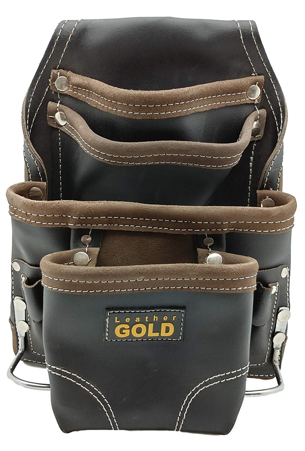 Leather Gold Heavy Duty Tool Pouch | Carpenters Tool Pouch 3150, Black, Oil-Tanned, 10 Pockets, 2 Hammer Holders, Reinforced Seams