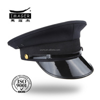 Fashion custom black mens security staff uniform cap with leather strap
